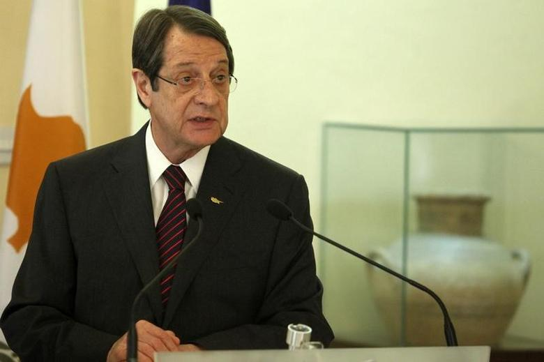 Cypriot President Nicos Anastasiades attends a news conference  in Nicosia, Cyprus March 2, 2017. REUTERS/Yiannis Kourtoglou