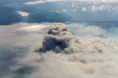 Humo de los incendios forestales en la región de O'Higgins en Chile. 20 de enero de 2017.  Courtesia de Moisés Catrilaf/INDAP/ via Reuters. La chilena Arauco, filial del grupo industrial Empresas Copec, informó el jueves que los voraces incendios forestales que afectaron al país este año dañaron unas 80.000 hectáreas de sus plantaciones, lo que implicará una pérdida contable de 240 millones de dólares. SOLO USO EDITORIAL