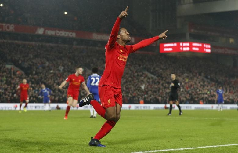 Britain Football Soccer - Liverpool v Chelsea - Premier League - Anfield - 31/1/17 Liverpool's Georginio Wijnaldum celebrates scoring their first goal  Action Images via Reuters / Carl Recine Livepic/File Photo