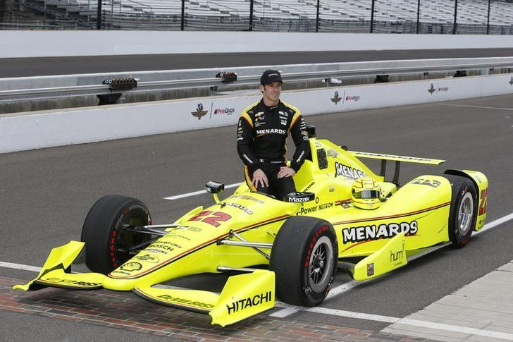 FILE PHOTO - May 21, 2016; Indianapolis, IN, USA; Verizon Indy Car driver Simon Pagenaud poses for the traditional photo at the yard of bricks after qualifying for the Indianapolis 500 at Indianapolis Motor Speedway. Mandatory Credit: Brian Spurlock-USA TODAY Sports