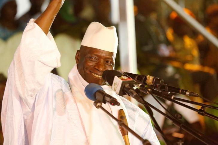 Gambia's President Yahya Jammeh, who is also a presidential candidate for the Alliance for Patriotic Re-orientation and Construction (APRC), smiles during a rally in Banjul, Gambia, November 29, 2016. REUTERS/Thierry Gouegnon