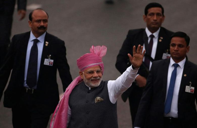 FILE PHOTO - Indian Prime Minister Narendra Modi waves towards the crowd as he leaves after attending the Republic Day parade in New Delhi, India January 26, 2017. REUTERS/Adnan Abidi/File Photo