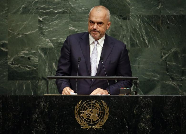 Albanian Prime Minister Edi Rama addresses a plenary meeting of the United Nations Sustainable Development Summit 2015 at the United Nations headquarters in Manhattan, New York September 25, 2015.   REUTERS/Andrew Kelly