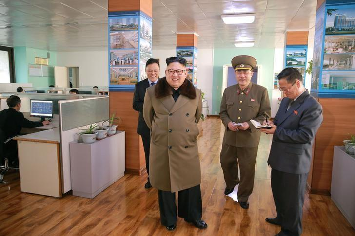 North Korean leader Kim Jong Un visits Baekdu Mountain Architecture Research Institute in this undated picture provided by KCNA in Pyongyang on March 11, 2017. KCNA/via Reuters