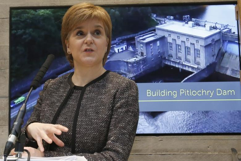 Scotland's First Minister Nicola Sturgeon makes a speech at SSE's new Pitlochry Dam Visitor Centre, in Pitlochry, Scotland, Britain, February 6, 2017. REUTERS/Russell Cheyne