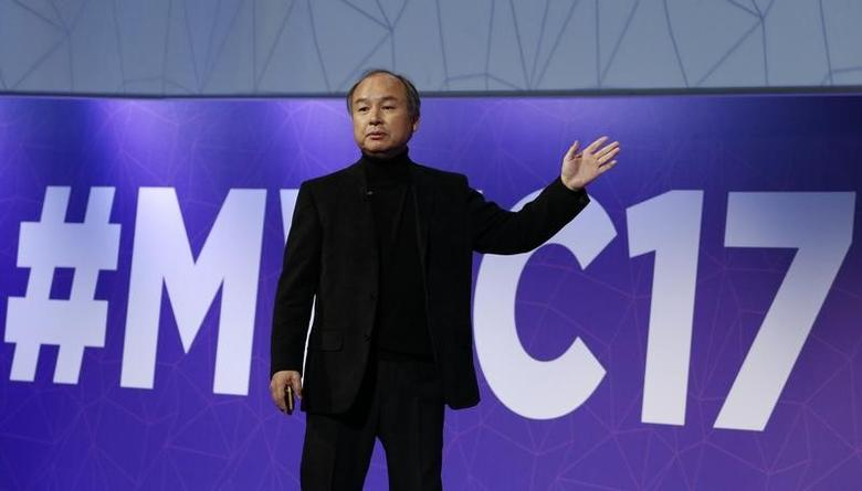 Masayoshi Son, President and Chief Executive Officer of Softbank, delivers his keynote speech at Mobile World Congress in Barcelona, Spain, February 27, 2017.   REUTERS/Paul Hanna