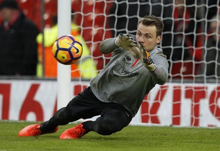 Britain Soccer Football - Liverpool v Arsenal - Premier League - Anfield - 4/3/17 Liverpool's Simon Mignolet warms up before the match  Reuters / Phil Noble Livepic