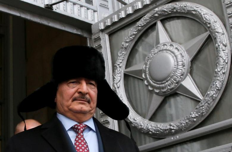 FILE PHOTO: General Khalifa Haftar, commander in the Libyan National Army (LNA), leaves after a meeting with Russian Foreign Minister Sergei Lavrov in Moscow, Russia, November 29, 2016. REUTERS/Maxim Shemetov/File Photo
