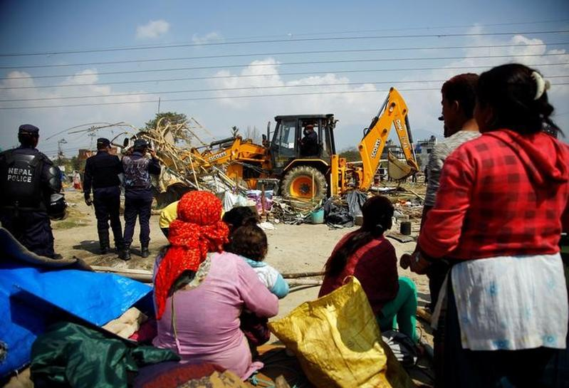 Nepal bulldozes earthquake survivors' relief camp in capital