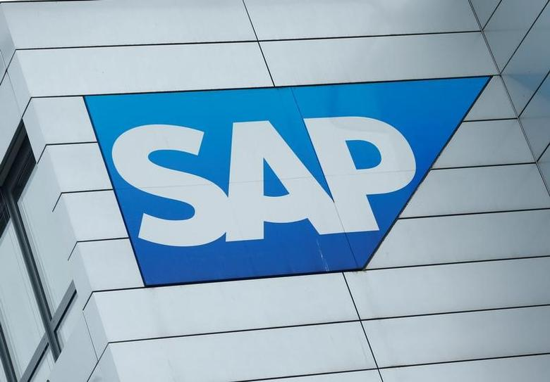 SAP logo at SAP headquarters in Walldorf, Germany, January 24, 2017.   REUTERS/Ralph Orlowski