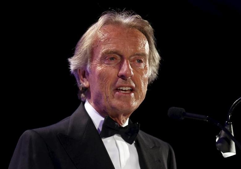 Luca di Montezemolo addresses the audience after being inducted into the 2015 Automotive Hall of Fame in Detroit, Michigan July 23, 2015.  REUTERS/Rebecca Cook