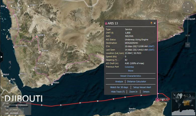 Map showing the vessel track of the ARIS 13 -- a small bunker tanker capable of carrying 1,800 deadweight tonnes of fuel -- which was en route from Djibouti to Mogadishu when it was allegedly hijacked off the coast of Somalia. REUTERS/Thomson Reuters Eikon