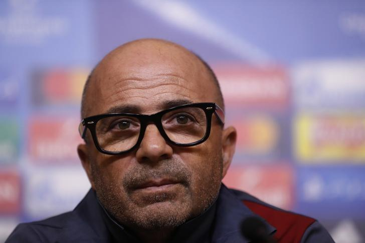 Britain Football Soccer - Sevilla Press Conference - King Power Stadium, Leicester, England - 13/3/17 Sevilla coach Jorge Sampaoli during the press conference Action Images via Reuters / Carl Recine Livepic