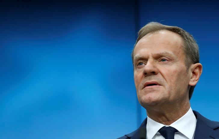 European Council President Donald Tusk addresses a news conference during a European Union leaders summit in Brussels, Belgium March 10, 2017. REUTERS/Francois Lenoir/Files