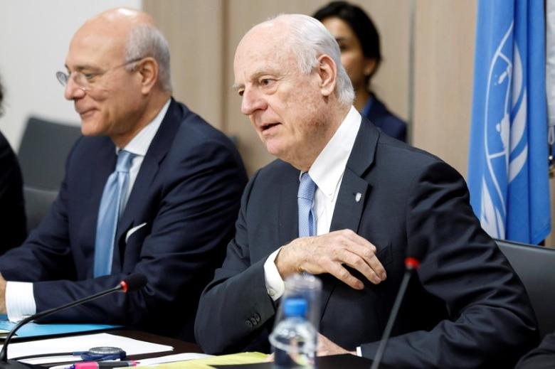 UN Special Envoy of the Secretary-General for Syria Staffan de Mistura (R) attends prior a round of negotiation with Bashar al-Jaafari (not pictured), Syrian chief negotiator and Ambassador of the Permanent Representative Mission of the Syria to UN New York, during the Intra Syria talks, at the European headquarters of the United Nations in Geneva, Switzerland, March 3, 2017. REUTERS/Salvatore Di Nolfi/Pool - RTS11B11