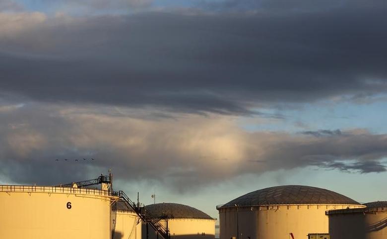 Crude oil storage tanks are seen at the Kinder Morgan terminal in Sherwood Park, near Edmonton, Alberta, Canada November 14, 2016. REUTERS/Chris Helgren