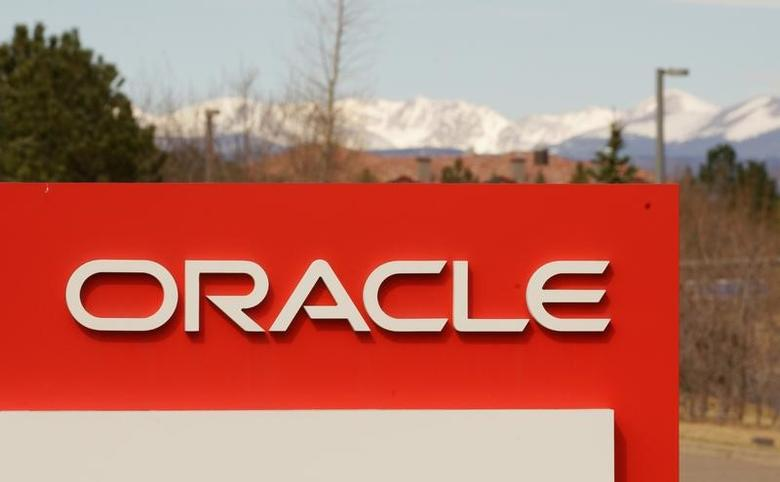 The sign outside Oracle's offices in Broomfield, Colorado, U.S., March 15, 2017.  REUTERS/Rick Wilking