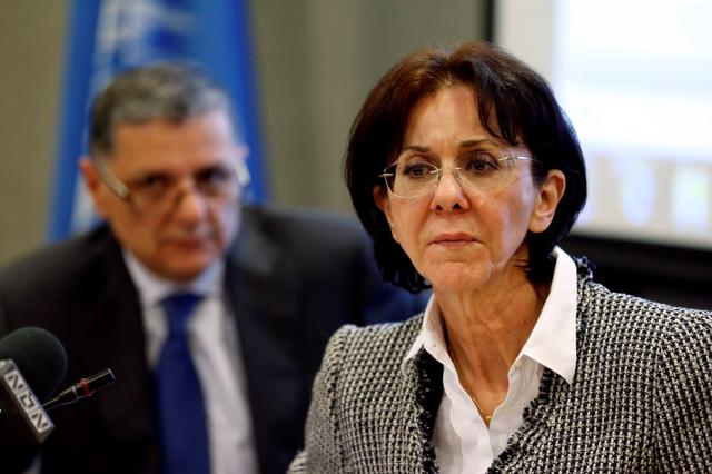 U.N. Under-Secretary General and ESCWA Executive Secretary Rima Khalaf attends a news conference in Beirut, Lebanon March 15, 2017. Picture taken March 15, 2017. REUTERS/Mohamed Azakir