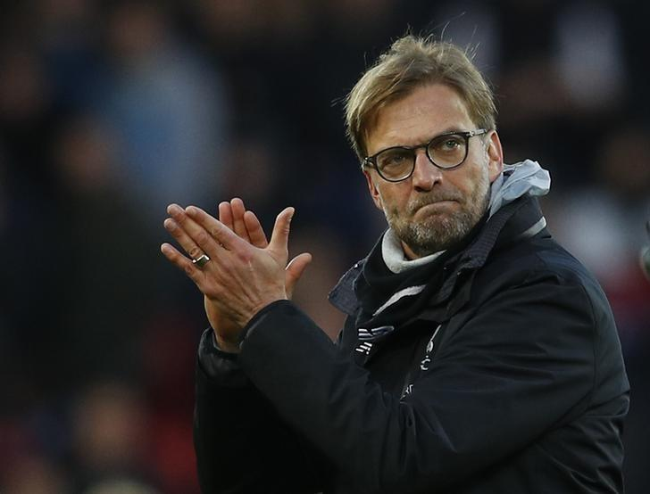 Britain Football Soccer - Liverpool v Burnley - Premier League - Anfield - 12/3/17 Liverpool manager Juergen Klopp celebrate after the game  Reuters / Phil Noble Livepic/Files