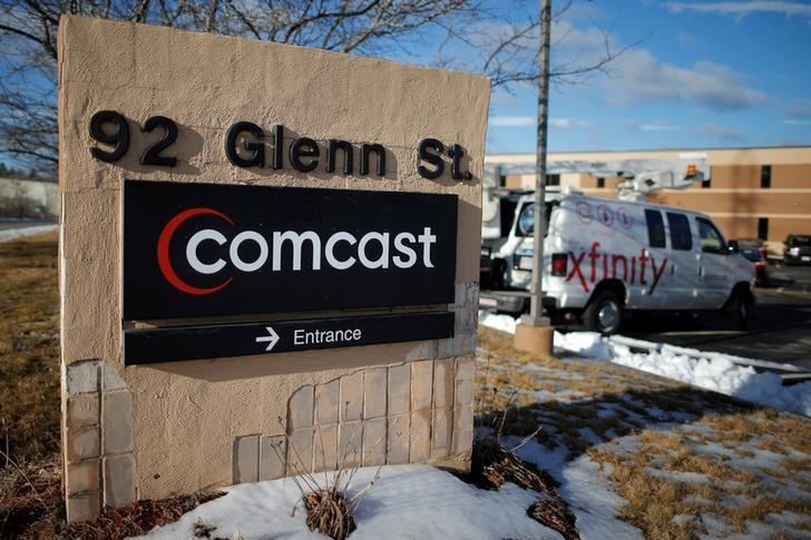A sign marks a Comcast facility in Lawrence, Massachusetts, U.S. January 25, 2017.   REUTERS/Brian Snyder/Files