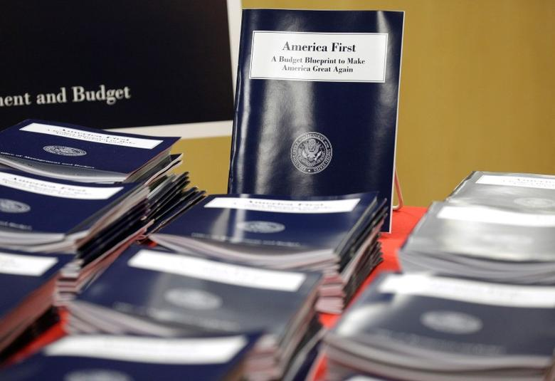 U.S. President Donald Trump's overview of the budget priorities for Fiscal Year 2018 are displayed at the U.S. Government Publishing Office (GPO) on its release by the Office of Management and Budget (OMB) in Washington, U.S. March 16, 2017.      REUTERS/Joshua Roberts -
