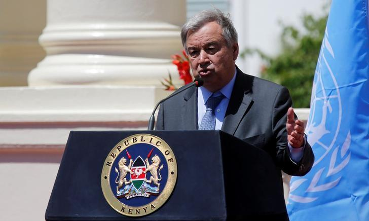 U.N. Secretary general Antonio Guterres address a news conference after holding a meeting with Kenya's President Uhuru Kenyatta at the State House in Nairobi, Kenya, March 8, 2017. REUTERS/Thomas Mukoya/Files