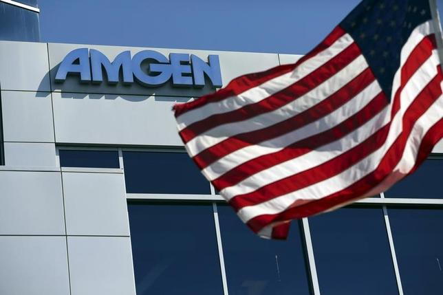 An Amgen sign is seen at the company's office in South San Francisco, California in this October 21, 2013 file photo.  REUTERS/Robert Galbraith/Files