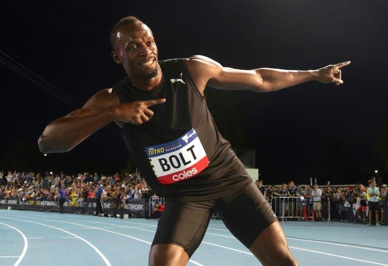 Jamaica's Olympic champion Usain Bolt poses after running during the final night of the Nitro Athletics series at the Lakeside Stadium in Melbourne, Australia, February 11, 2017.  REUTERS/Hamish Blair