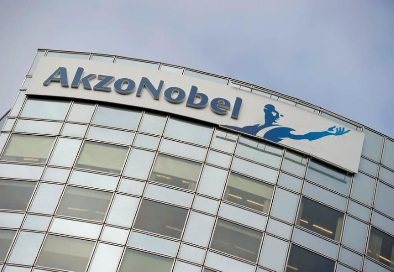 FILE PHOTO: Akzo Nobel's logo is seen in Amsterdam, Netherlands, February 16, 2012.    REUTERS/Robin van Lonkhuijsen/United Photos/File Photo