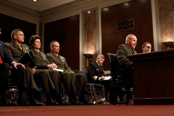 Commandant of the Marine Corps General Robert Neller testifies during a Senate Armed Services Committee hearing on the Marines United Facebook page on Capitol Hill in Washington, D.C., U.S. March 14, 2017.  REUTERS/Aaron P. Bernstein