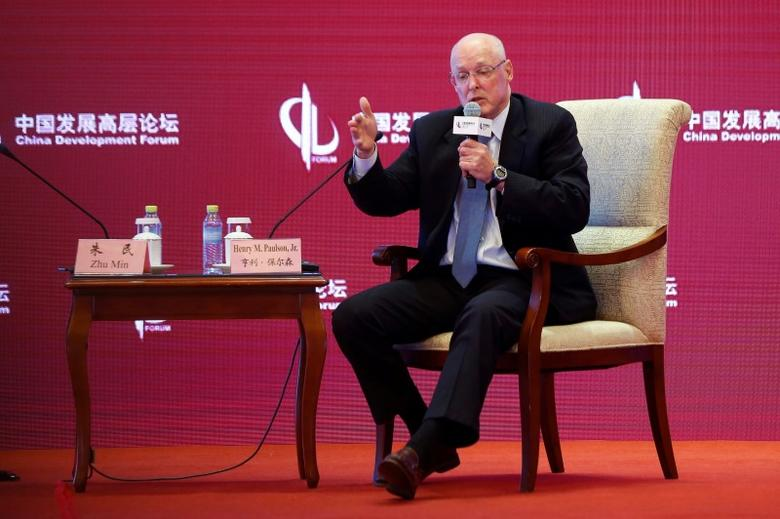 Henry M. Paulson, former U.S Secretary of Treasury, speaks during a parallel session at China Development Forum in Beijing, China March 18, 2017. REUTERS/Stringer