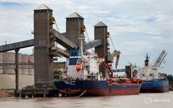 Un barco recibe una carga de grano en un puerto en el río Paraná, cerca de Rosario, Argentina. 31 enero 2017. Trabajadores de la región portuaria de Rosario, el principal centro agroexportador de Argentina, anunciaron el sábado que realizarán una huelga de 24 horas el 30 de marzo en reclamo de mejoras salariales y el cese de despidos. REUTERS/Marcos Brindicci