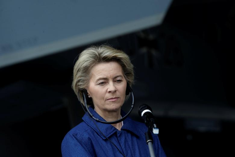 German Defense minister Ursula von der Leyen listens to media in Amari air base, Estonia, March 2, 2017. REUTERS/Ints Kalnins