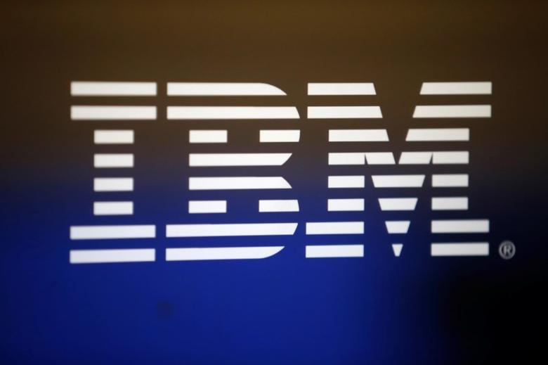 The logo of Dow Jones Industrial Average stock market index listed company IBM (IBM) is seen on a computer screen in Los Angeles, California, United States, April 22, 2016. REUTERS/Lucy Nicholson