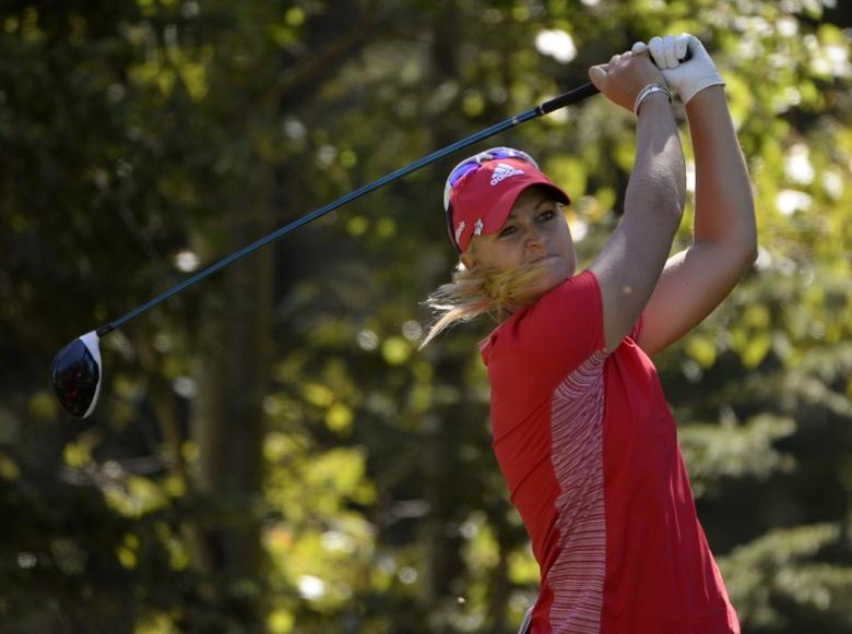 FILE PHOTO - Aug 26, 2016; Calgary, Alberta, CAN; Anna Nordqvist of Sweden drives the ball on the 6th tee box during the second round at Priddis Greens Golf and Country Club. Eric Bolte-USA TODAY Sports/Reuters Picture Supplied by Action Images
