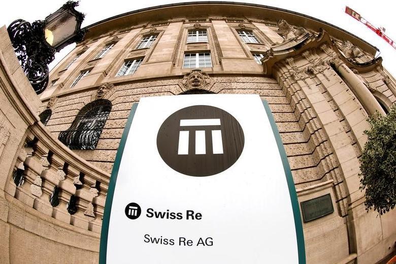 The logo of Swiss insurer Swiss Re is seen in front of its headquarters in Zurich, Switzerland, September 23, 2015.    REUTERS/Arnd Wiegmann/File Photo