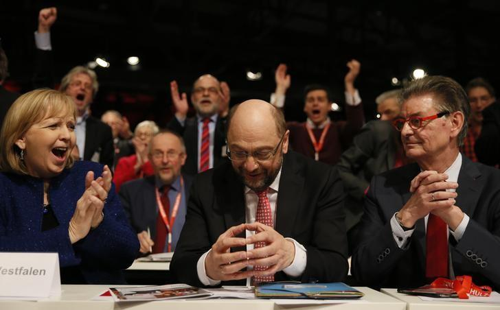 Martin Schulz reacts after he was elected new Social Democratic Party (SPD) leader during an SPD party convention in Berlin, Germany, March 19, 2017.     REUTERS/Axel Schmidt - RTX31Q4A