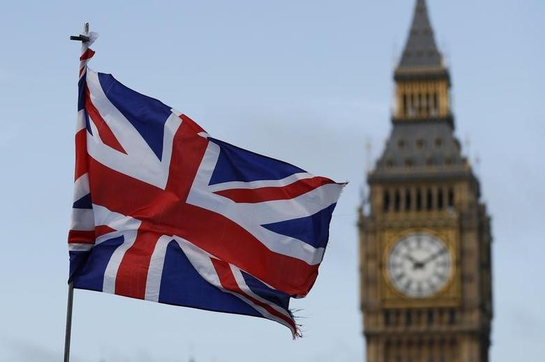 A Union flag flutters near the Houses of Parliament in London, Britain, February 20, 2017. REUTERS/Stefan Wermuth