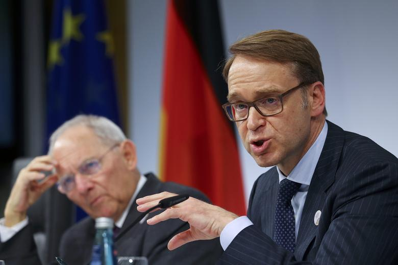 German Bundesbank President Jens Weidmann and German Finance Minister Wolfgang Schaeuble (L) address a news conference at the G20 Finance Ministers and Central Bank Governors Meeting in Baden-Baden, Germany, March 18, 2017.     REUTERS/Kai Pfaffenbach