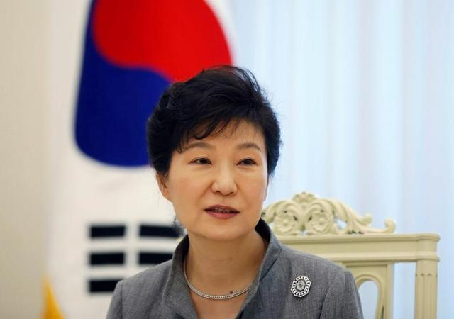 FILE PHOTO - South Korean President Park Geun-hye speaks during an interview with Reuters at the Presidential Blue House in Seoul September 16, 2014.  REUTERS/Kim Hong-Ji/File Photo