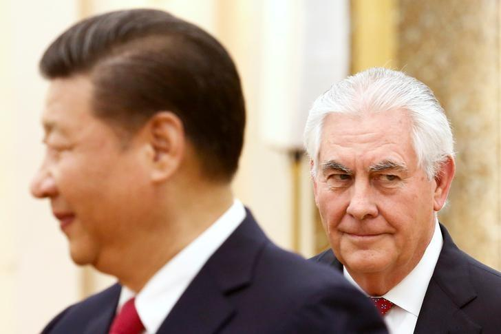 China's President Xi Jinping meets U.S. State of Secretary, Rex Tillerson at the Great Hall of the People in Beijing, China, March 19, 2017.  REUTERS/Thomas Peter     TPX IMAGES OF THE DAY - RTX31OU5