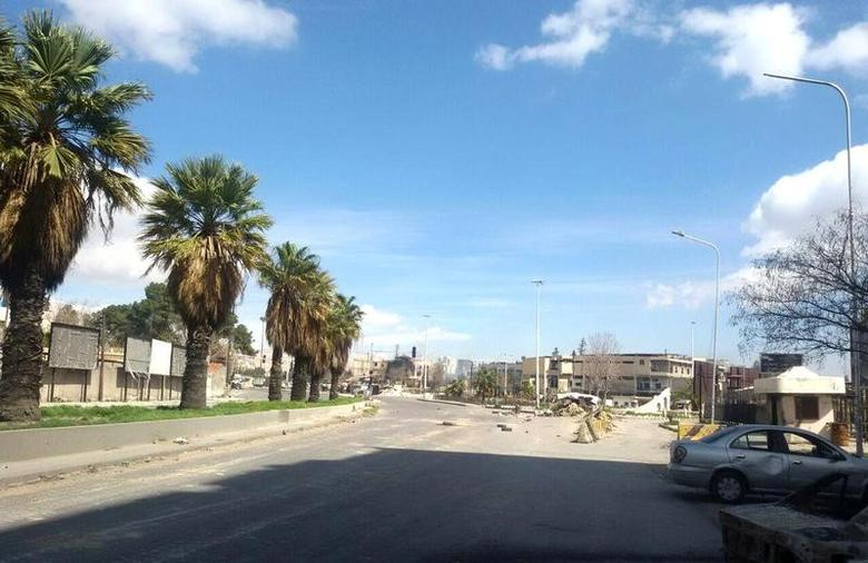 A view shows an empty street near the Abbasiyin area in the east of the capital Damascus, in this handout picture provided by SANA on March 20, 2017, Syria. SANA/Handout via REUTERS ATTENTION EDITORS - THIS PICTURE WAS PROVIDED BY A THIRD PARTY. REUTERS IS UNABLE TO INDEPENDENTLY VERIFY THE AUTHENTICITY, CONTENT, LOCATION OR DATE OF THIS IMAGE. FOR EDITORIAL USE ONLY.