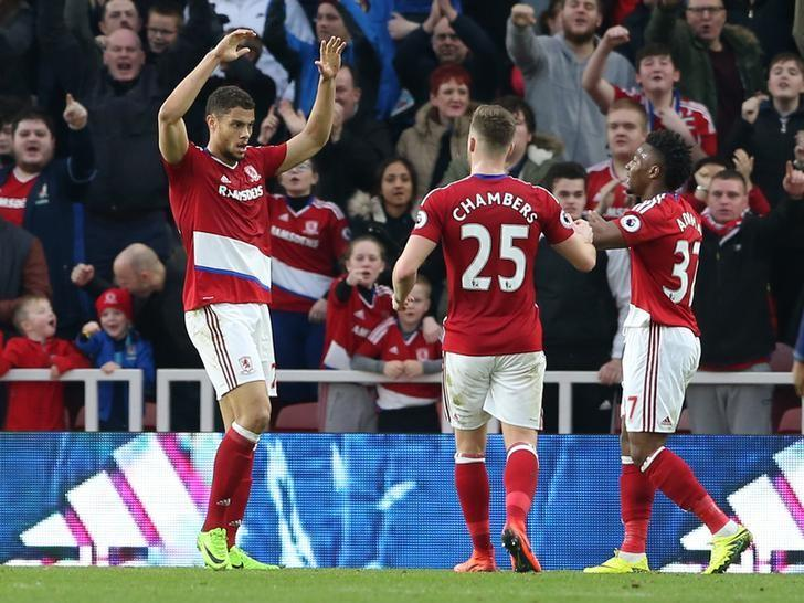 Britain Soccer Football - Middlesbrough v Oxford United - FA Cup Fifth Round - The Riverside Stadium - 18/2/17 Middlesbrough's Rudy Gestede celebrates scoring their second goal with team mates Reuters / Scott Heppell/ Livepic/ Files