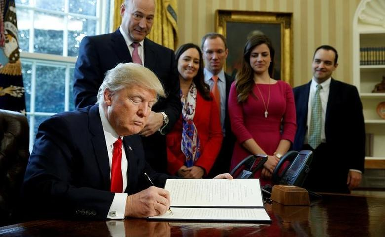 U.S. President Donald Trump signs an executive order rolling back regulations from the 2010 Dodd-Frank law on Wall Street reform at the White House in Washington February 3, 2017.  REUTERS/Kevin Lamarque/File Photo
