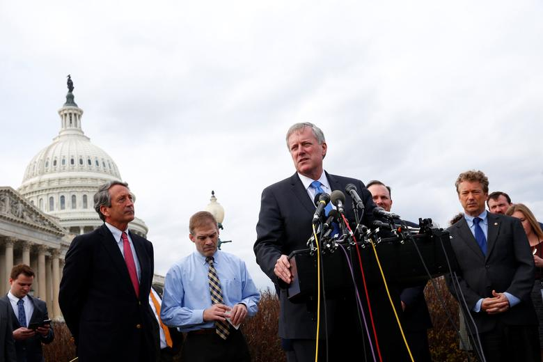 FILE PHOTO: U.S. Rep. Mark Meadows (R-NC) and other members of the House Freedom Caucus hold a news conference on Capitol Hill in Washington, U.S. March 7, 2017. REUTERS/Eric Thayer