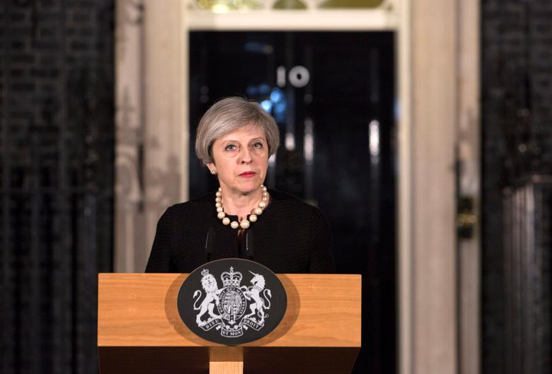 Britain's Prime Minister Theresa May makes a statement at Downing street in London, Britain, March 22, 2017 following the attack in Westminster. REUTERS/Richard Pohle/Pool