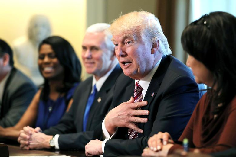 U.S. President Donald Trump attends a meeting with the Congressional Black Caucus Executive Committee at the White House in Washington, DC, U.S., March 22, 2017. REUTERS/Carlos Barria