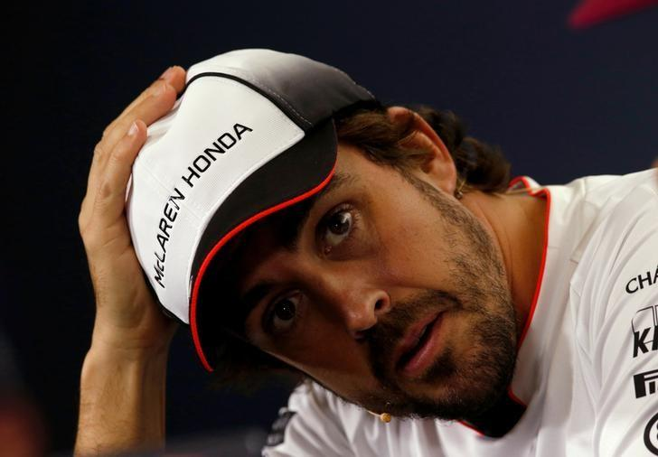 Formula One - Spanish Grand Prix - Barcelona-Catalunya racetrack, Montmelo, Spain - 12/5/16. McLaren's F1 driver Fernando Alonso gestures during a news conference ahead of the Spanish Grand Prix. REUTERS/Albert Gea/Files