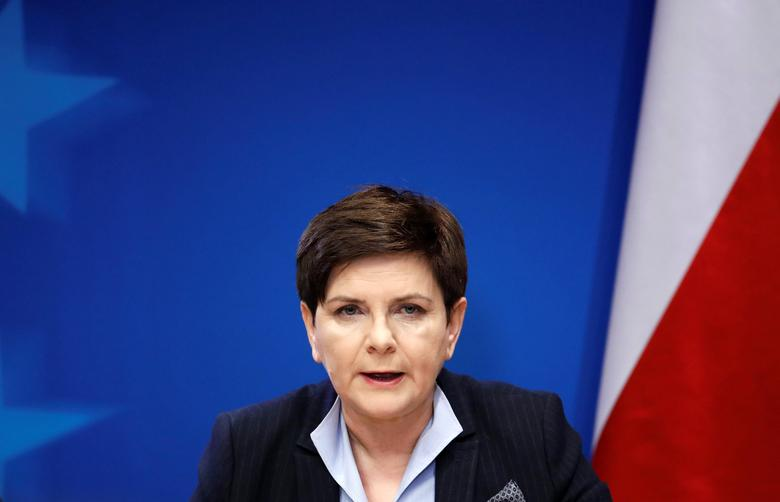 Poland's Prime Minister Beata Szydlo holds a news conference at the end of a European Union leaders summit in Brussels, Belgium, March 10, 2017. REUTERS/Yves Herman