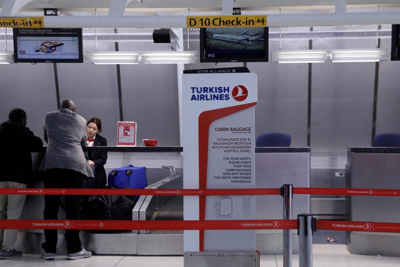 A sign for Turkish Airlines stands near the counters inside of JFK International Airport in New York, U.S., March 21, 2017.  REUTERS/Lucas Jackson